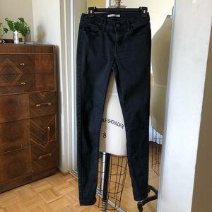Levi's Black 710 Super Skinny Jeans 28x32